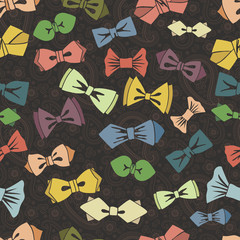 Bow tie seamless pattern.Paisley background.Vector