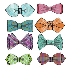 Colored  bow tie with simple pattern.Retro fashion set