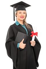 Female graduate student holding a diploma