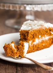 eat a piece of honey sponge cake with cream