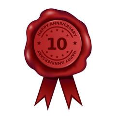Happy Ten Year Anniversary Wax Seal