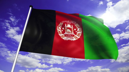 flag of Afghanistan with fabric structure against a cloudy sky