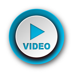 video blue modern web icon on white background