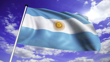 flag of Argentina with fabric structure; looping