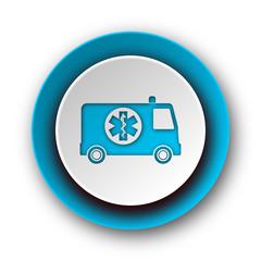 ambulance blue modern web icon on white background