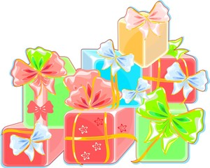 Colorful gifts with bow