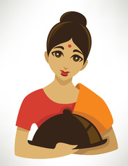 indian menu, cartoon girl in a traditional cloth