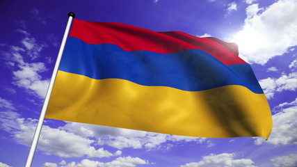 flag of Armenia with fabric structure against a cloudy sky