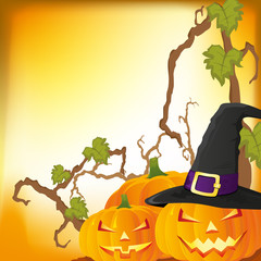 Halloween autumn background with three pumpkins, vector