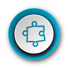 puzzle blue modern web icon on white background
