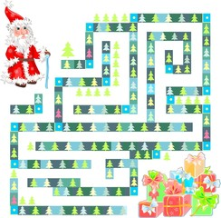 Сhild play with Santa Claus and gifts