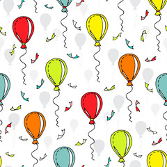 Vector pattern with colorful balloons and confetti