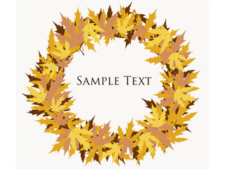 Autumn leaves in circle background with space for your text.
