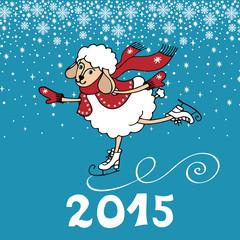 Year of Sheep. Cartoon sheep skate