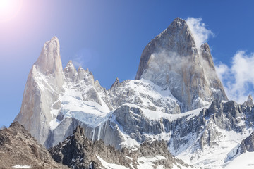Sun over Fitz Roy Mountain, Patagonia in Argentina.