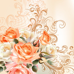 Floral   pattern with roses in watercolor style