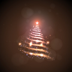Abstract Christmas tree made of sparkles and lights