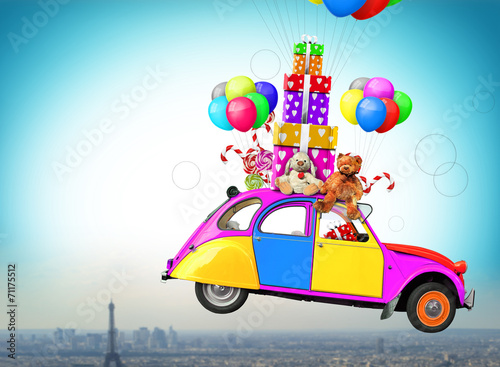 canvas print picture Colorful car with gifts and toys, holiday