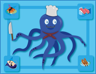 Octopus cook with sushi