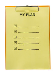 List of my plan on paper with clipboard