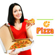 Beautiful girl with delicious pizza in pizza box isolated