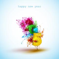 New year 2015 creative greeting card design, easy editable