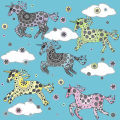 Cute background with cartoon unicorns in the clouds