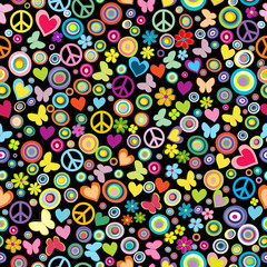 Seamless pattern of flowers, circles, hearts, butteflies and pea