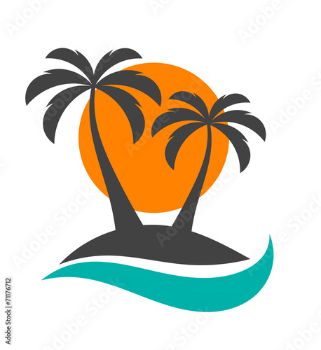 Palm trees, sun and ocean - 71176712