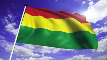 flag of Bolivia with fabric structure against a cloudy sky
