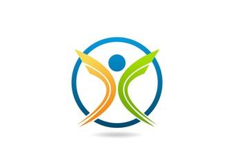 circle body health Logo, abstract fitness icon Vector