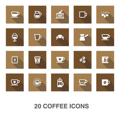 Coffee icons with shadow.