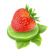 Strawberry and lime isolated on white