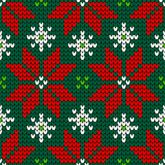 Seamless Pattern Knitted Poinsettia Red/Green/White