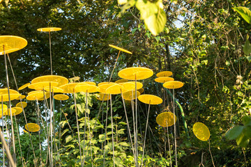yellow sun catcher in the garden