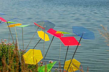 suncatcher discs on lakeside