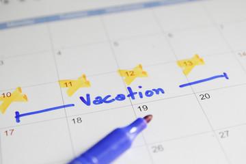 Vacation plan written on calendar