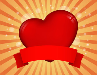 heart with banner on abstract background