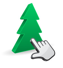 pointer hand cursor with christmas tree icon 3d