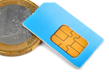 sim card and coin
