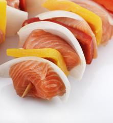 Salmon Kebab With Vegetables