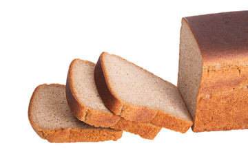sliced ​​loaf of black rye bread isolated on white backgroun