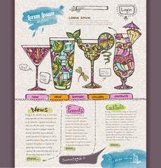 Website design template. Cocktail menu