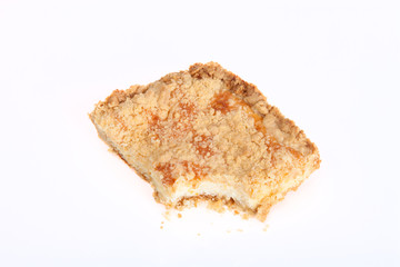 piece of shortbread cake on a white background