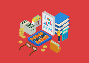 Flat 3d isometric concept infographics finance money accounting