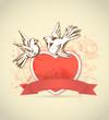 Obrazy na płótnie, fototapety, zdjęcia, fotoobrazy drukowane : Vintage card with red heart and dove
