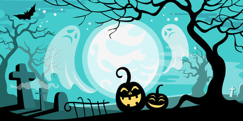 Halloween vector illustration concept template scary graveyard