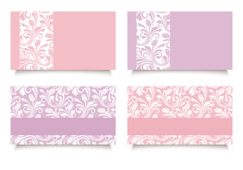 Pink and purple business cards with floral patterns. Vector.