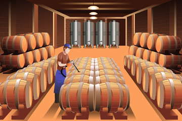 Worker in a winery