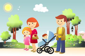 Familia de paseo por el parque